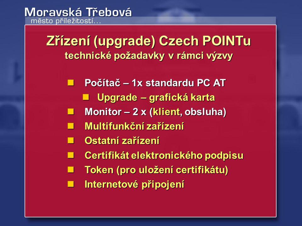 Zřízení (upgrade) Czech POINTu technické požadavky v rámci výzvy
