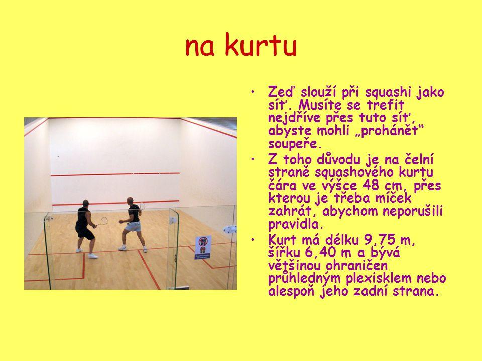 """na kurtu Zeď slouží při squashi jako síť. Musíte se trefit nejdříve přes tuto síť, abyste mohli """"prohánět soupeře."""