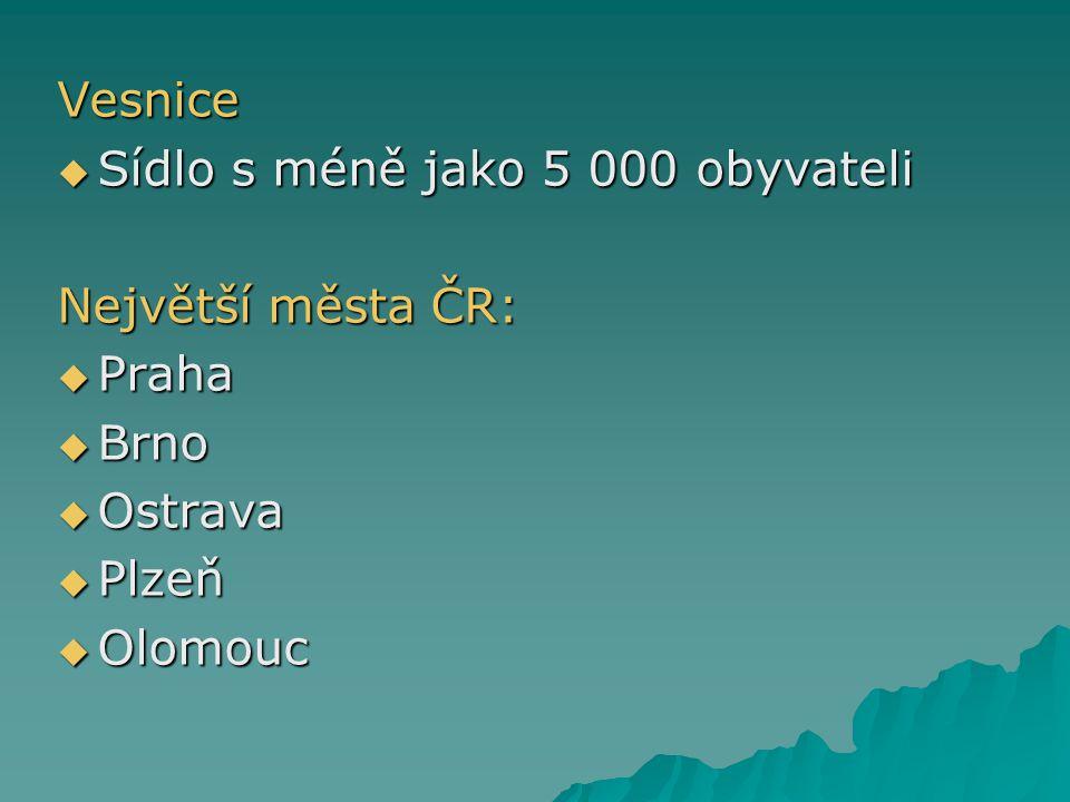 Vesnice Sídlo s méně jako 5 000 obyvateli Největší města ČR: Praha Brno Ostrava Plzeň Olomouc