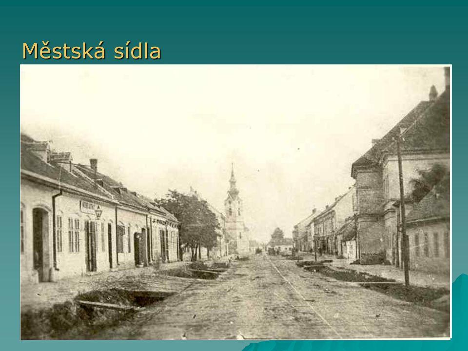 Městská sídla V minulosti městská práva. Vznik nových měst během industrializace (Ostrava, Most, …)