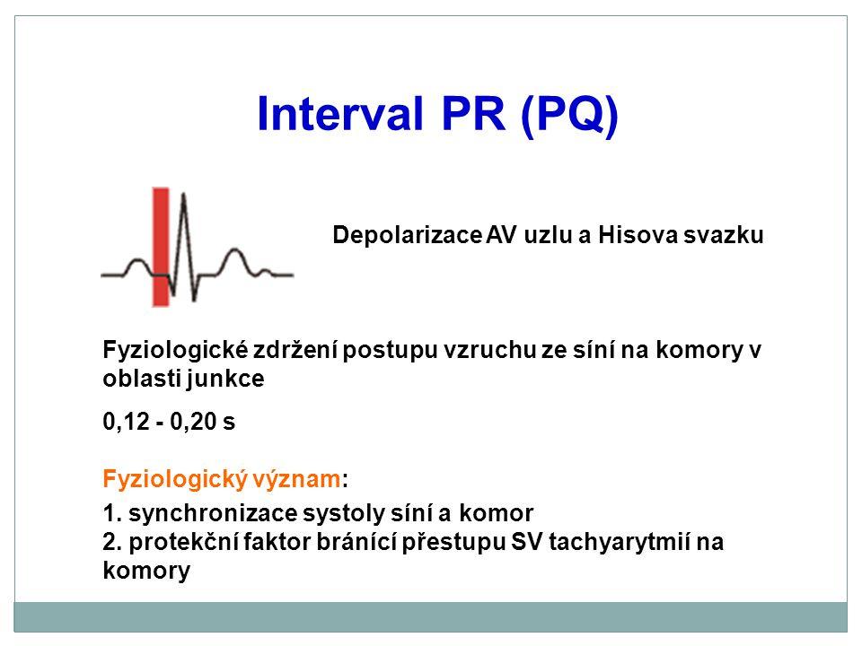 Interval PR (PQ) Depolarizace AV uzlu a Hisova svazku
