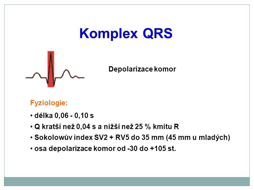 Komplex QRS Depolarizace komor Fyziologie: délka 0,06 - 0,10 s