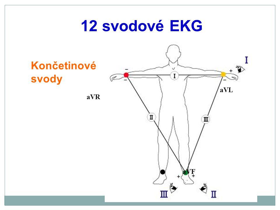 12 svodové EKG Končetinové svody aVL aVR aVF