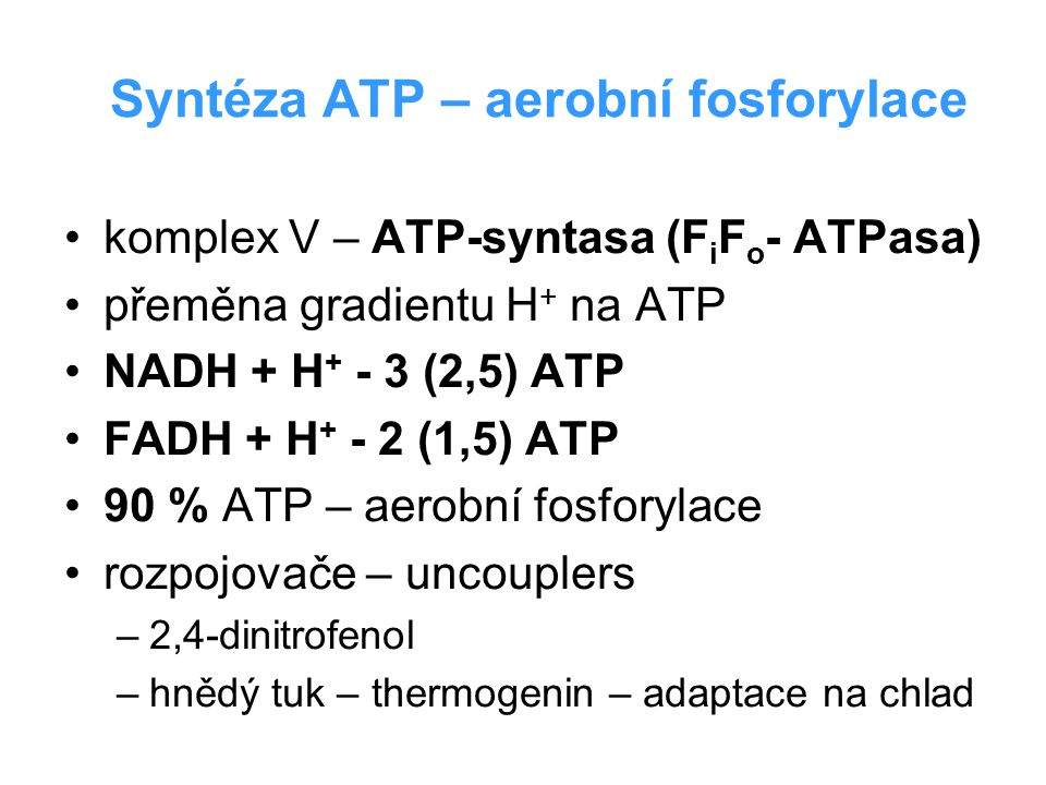 Syntéza ATP – aerobní fosforylace