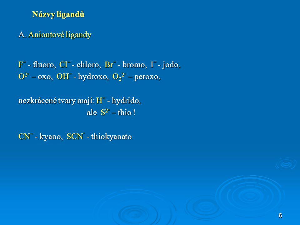 Názvy ligandů A. Aniontové ligandy. Fˉ - fluoro, Clˉ - chloro, Brˉ - bromo, Iˉ - jodo, O2־ – oxo, OHˉ - hydroxo, O22־ – peroxo,