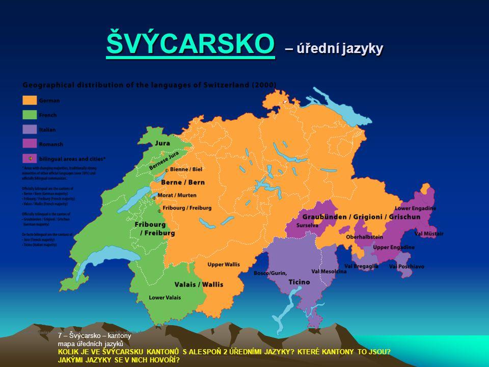 ŠVÝCARSKO – úřední jazyky