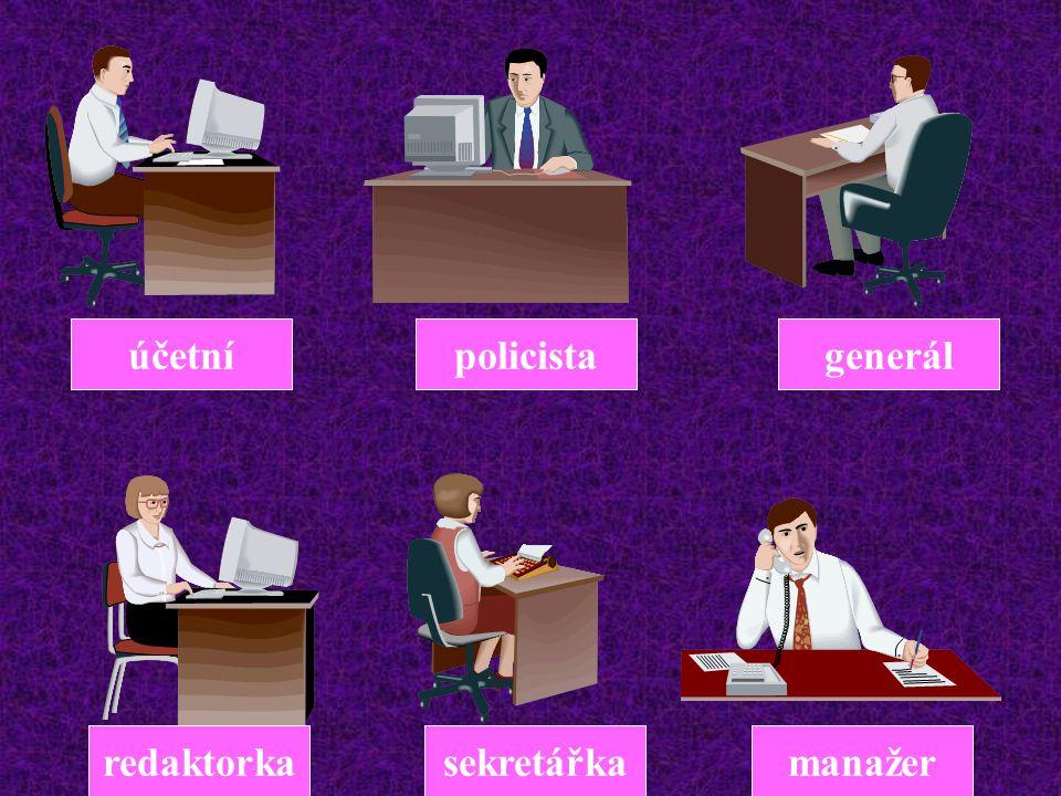 účetní policista generál redaktorka sekretářka manažer