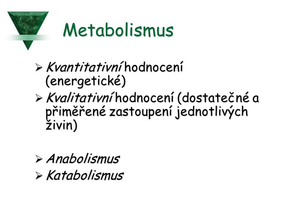 Metabolismus Kvantitativní hodnocení (energetické)