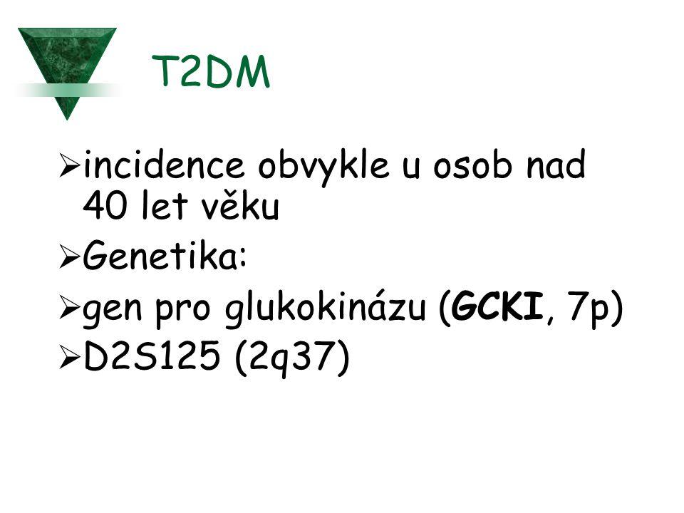 T2DM incidence obvykle u osob nad 40 let věku Genetika: