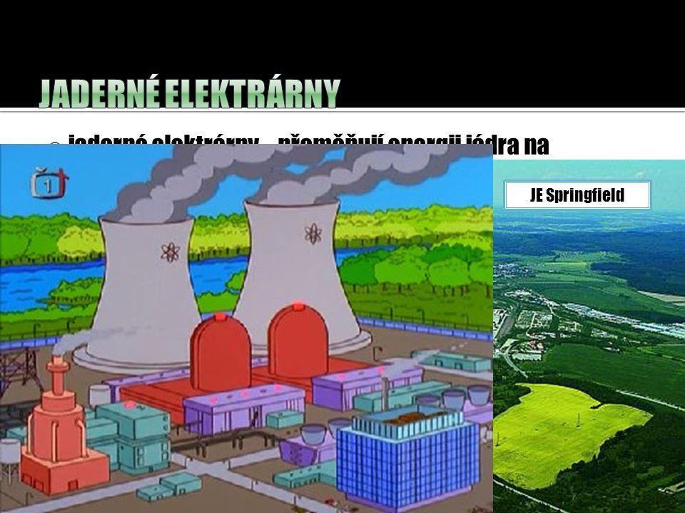 Jaderné elektrárny jaderné elektrárny – přeměňují energii jádra na elektrickou energii. JE Springfield.