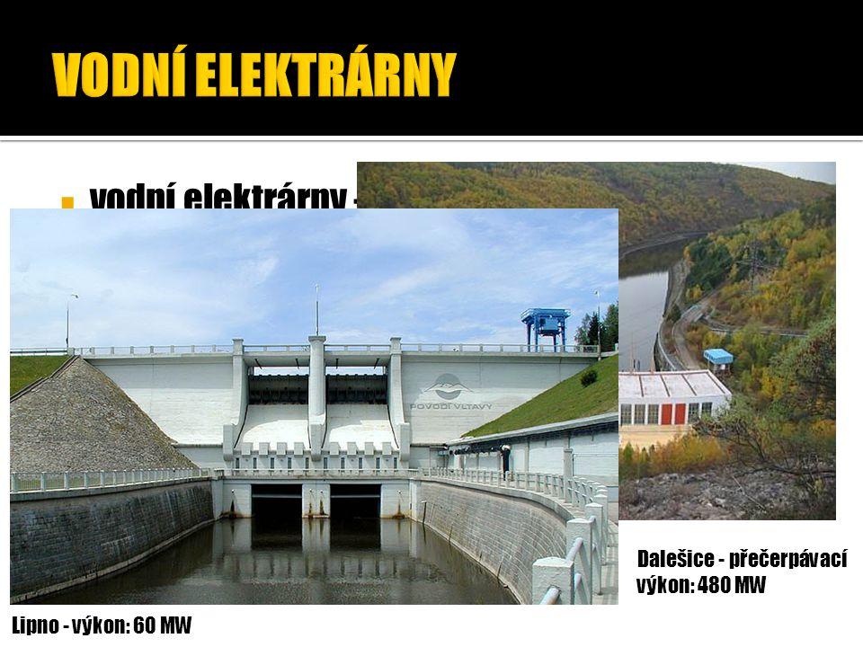 VODNÍ ELEKTRÁRNY vodní elektrárny – přeměňují potenciální energii vody na elektrickou energii. Dalešice - přečerpávací.