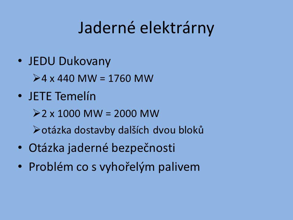 Jaderné elektrárny JEDU Dukovany JETE Temelín