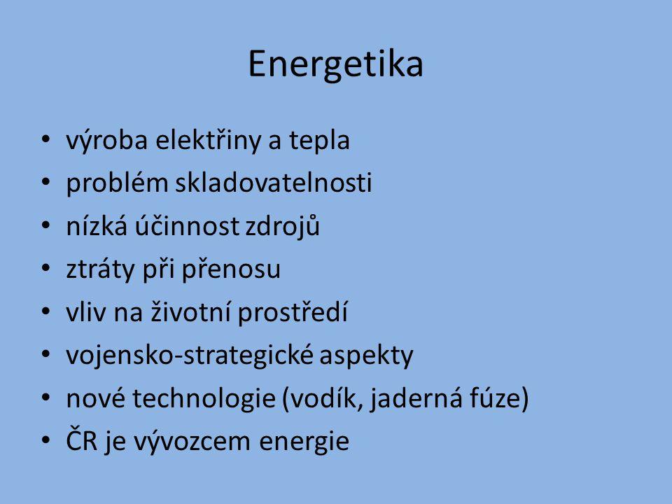 Energetika výroba elektřiny a tepla problém skladovatelnosti