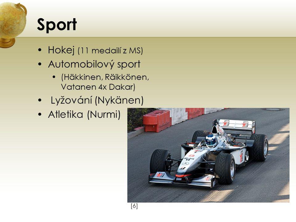 Sport Hokej (11 medailí z MS) Automobilový sport Lyžování (Nykänen)