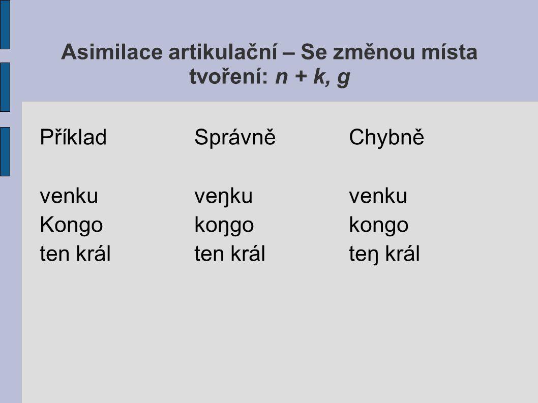 Asimilace artikulační – Se změnou místa tvoření: n + k, g