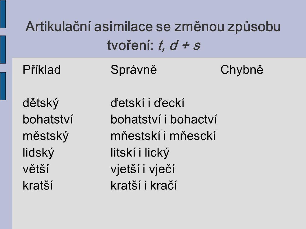 Artikulační asimilace se změnou způsobu tvoření: t, d + s