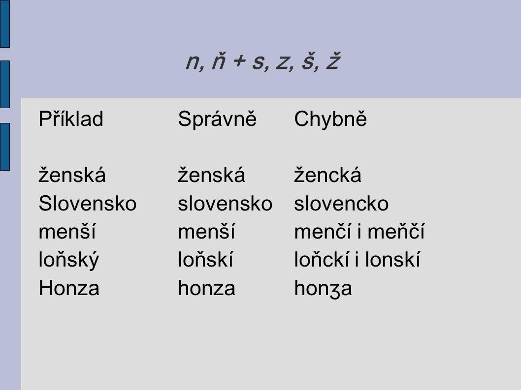 n, ň + s, z, š, ž Příklad Správně Chybně ženská ženská žencká