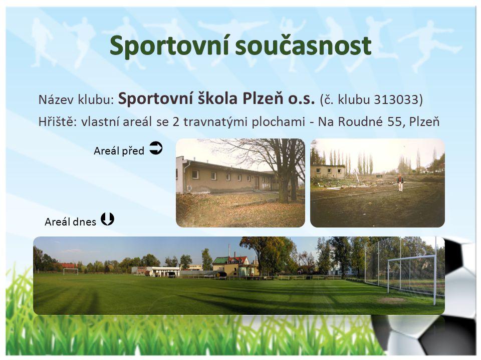 Sportovní současnost Název klubu: Sportovní škola Plzeň o.s. (č. klubu 313033) Hřiště: vlastní areál se 2 travnatými plochami - Na Roudné 55, Plzeň