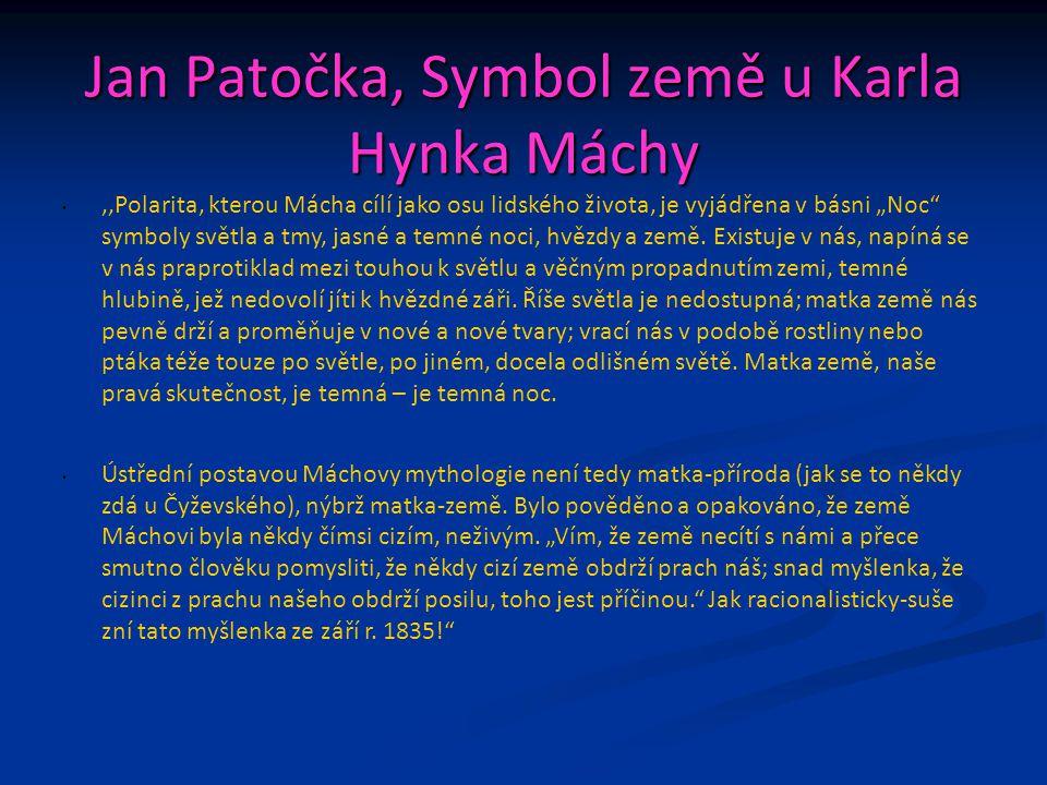 Jan Patočka, Symbol země u Karla Hynka Máchy