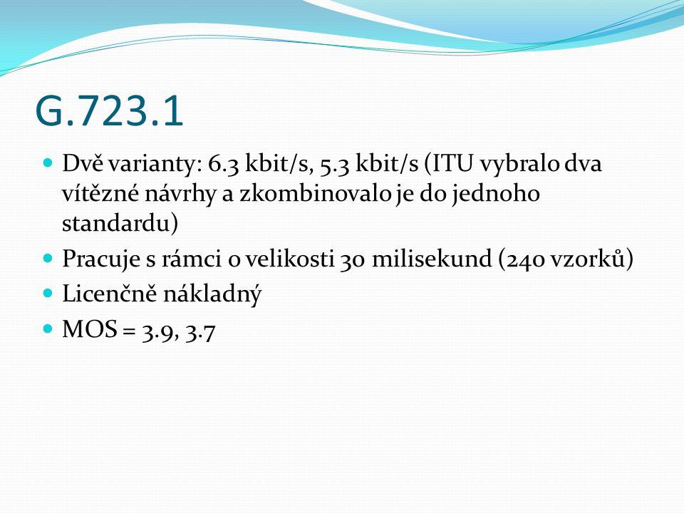 G.723.1 Dvě varianty: 6.3 kbit/s, 5.3 kbit/s (ITU vybralo dva vítězné návrhy a zkombinovalo je do jednoho standardu)