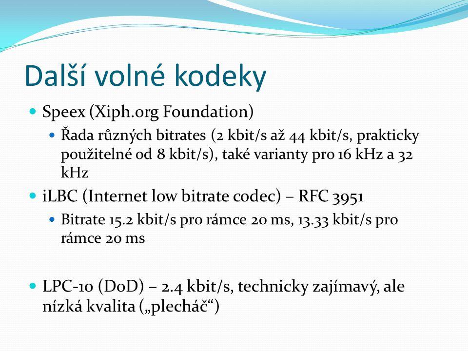 Další volné kodeky Speex (Xiph.org Foundation)