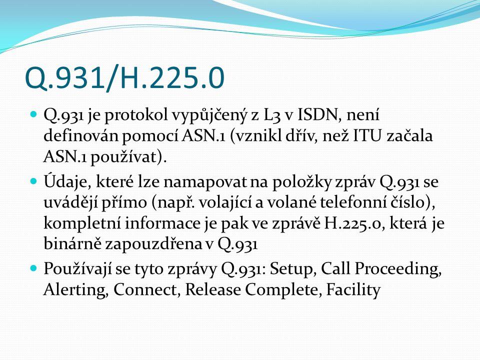 Q.931/H.225.0 Q.931 je protokol vypůjčený z L3 v ISDN, není definován pomocí ASN.1 (vznikl dřív, než ITU začala ASN.1 používat).