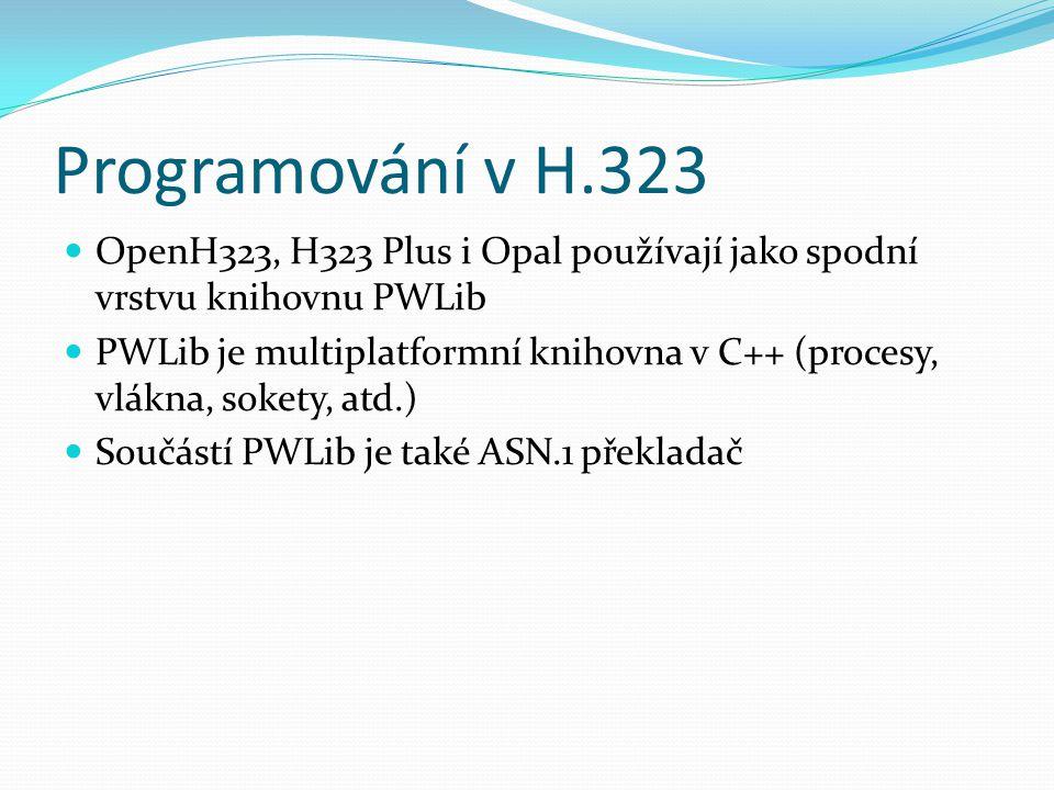 Programování v H.323 OpenH323, H323 Plus i Opal používají jako spodní vrstvu knihovnu PWLib.