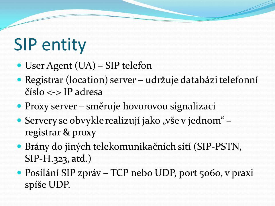 SIP entity User Agent (UA) – SIP telefon