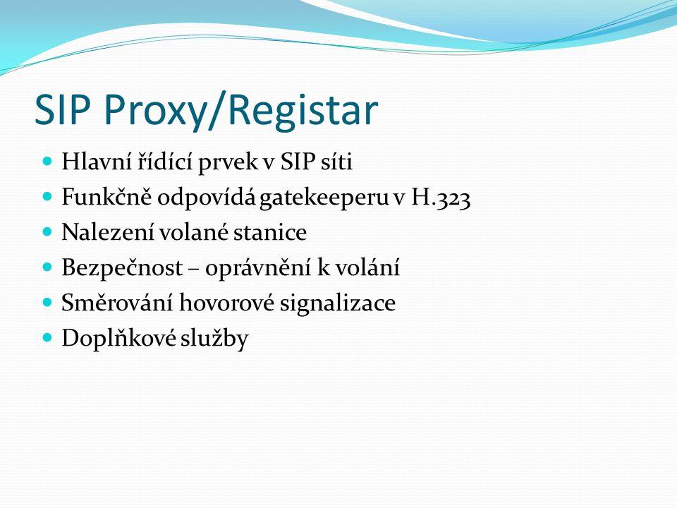 SIP Proxy/Registar Hlavní řídící prvek v SIP síti