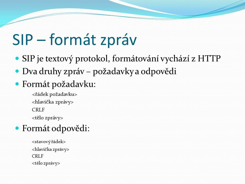 SIP – formát zpráv SIP je textový protokol, formátování vychází z HTTP