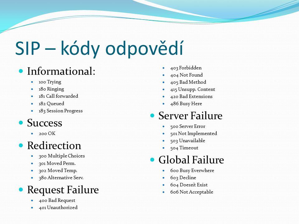 SIP – kódy odpovědí Informational: Server Failure Success Redirection