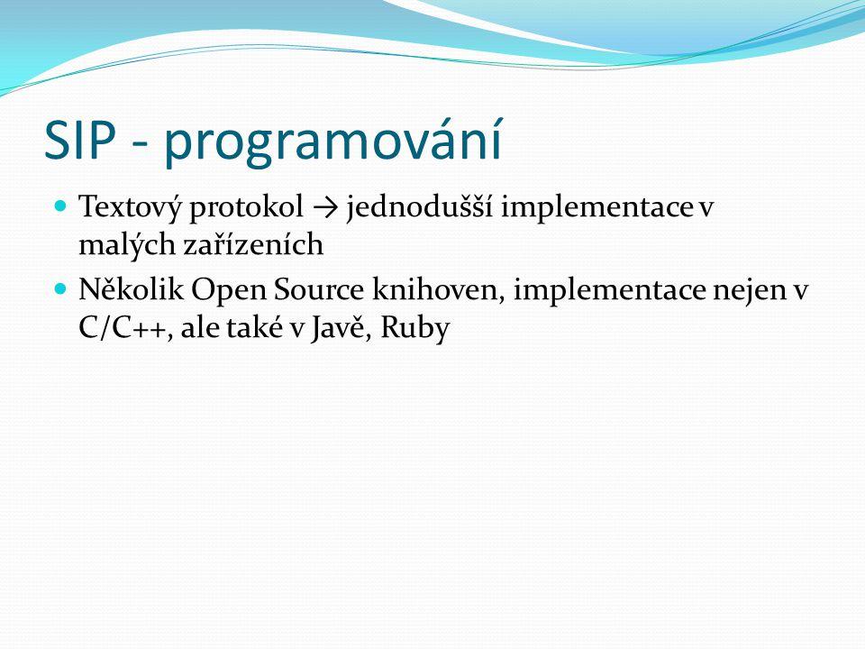 SIP - programování Textový protokol → jednodušší implementace v malých zařízeních.