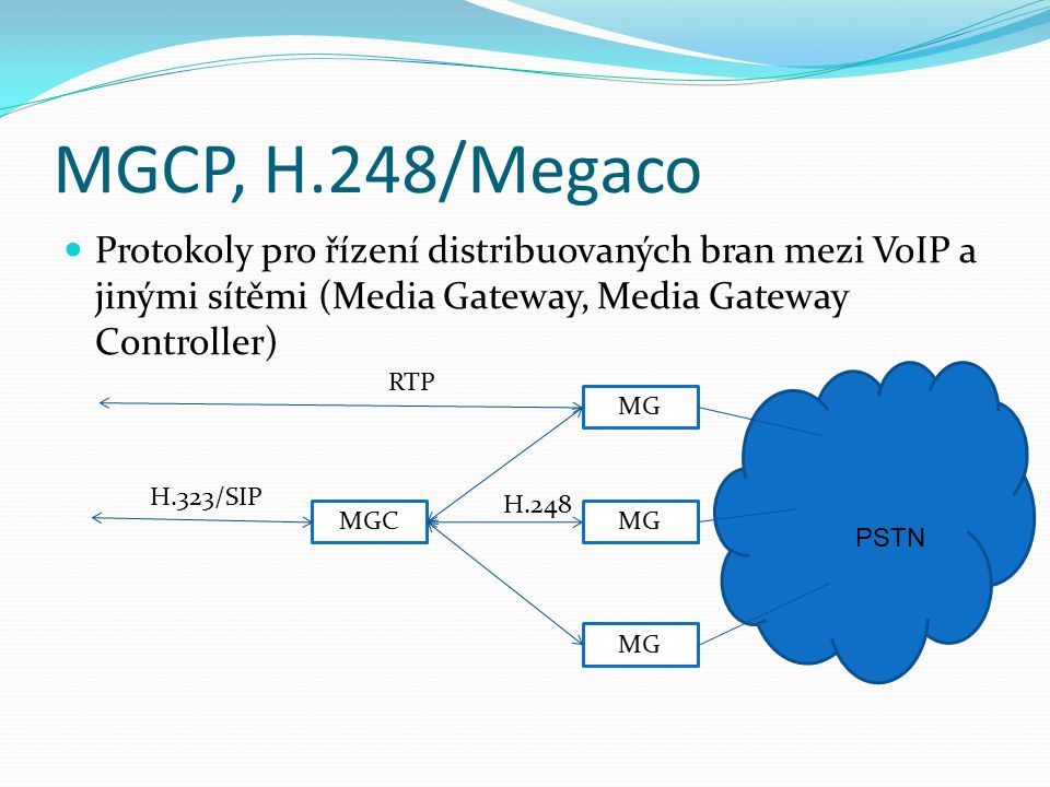 MGCP, H.248/Megaco Protokoly pro řízení distribuovaných bran mezi VoIP a jinými sítěmi (Media Gateway, Media Gateway Controller)