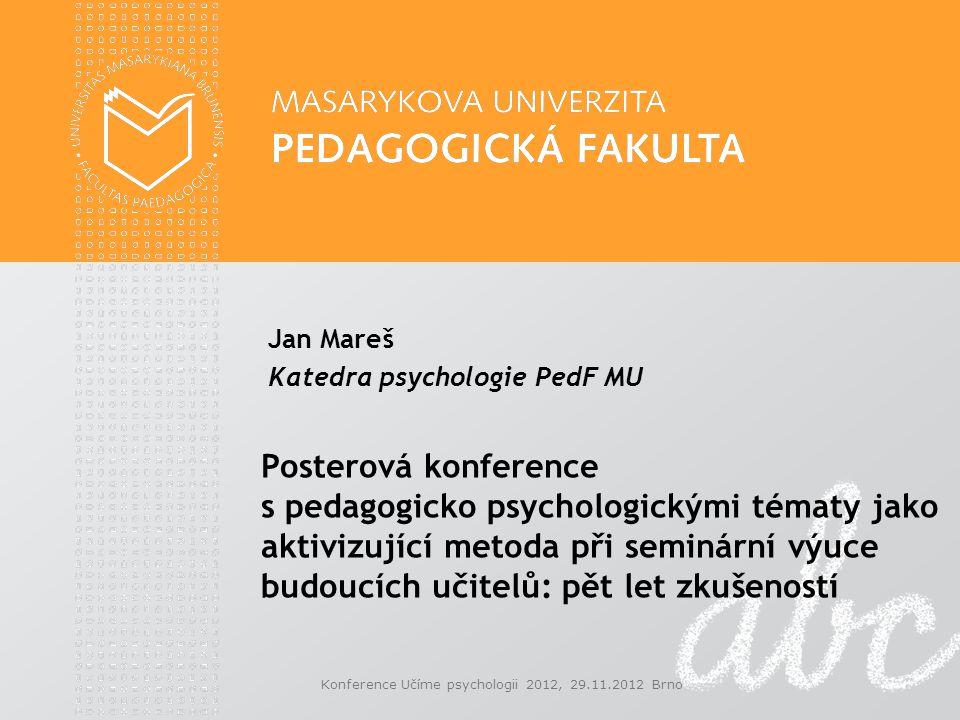 Jan Mareš Katedra psychologie PedF MU