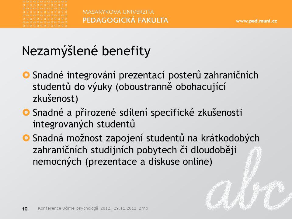 Nezamýšlené benefity Snadné integrování prezentací posterů zahraničních studentů do výuky (oboustranně obohacující zkušenost)