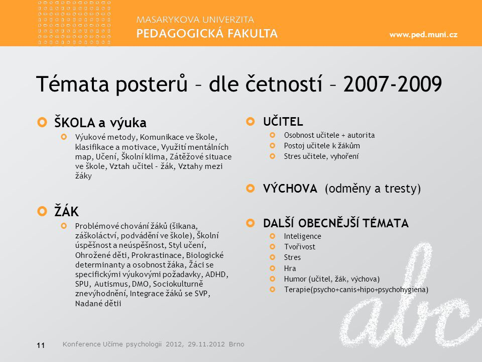 Témata posterů – dle četností – 2007-2009
