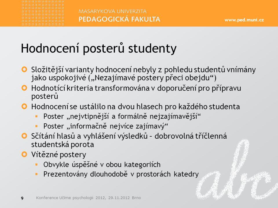 Hodnocení posterů studenty