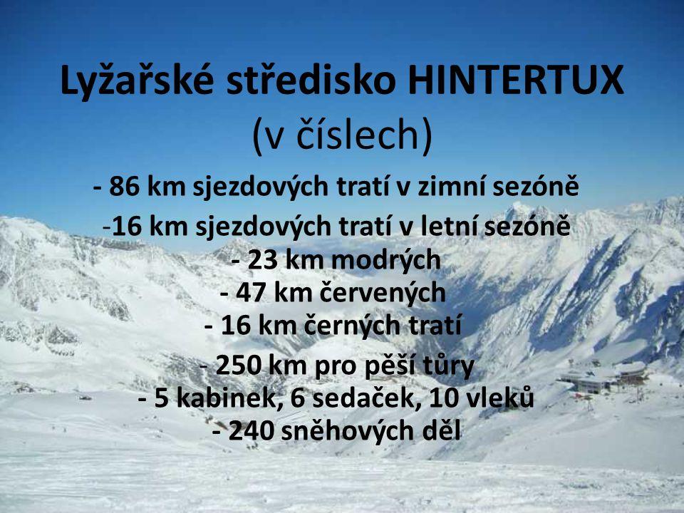 Lyžařské středisko HINTERTUX (v číslech)