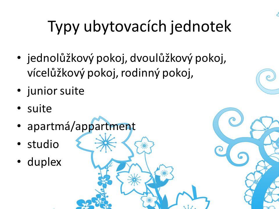 Typy ubytovacích jednotek