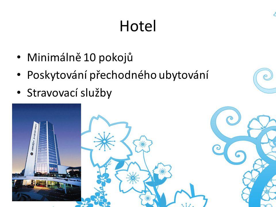 Hotel Minimálně 10 pokojů Poskytování přechodného ubytování