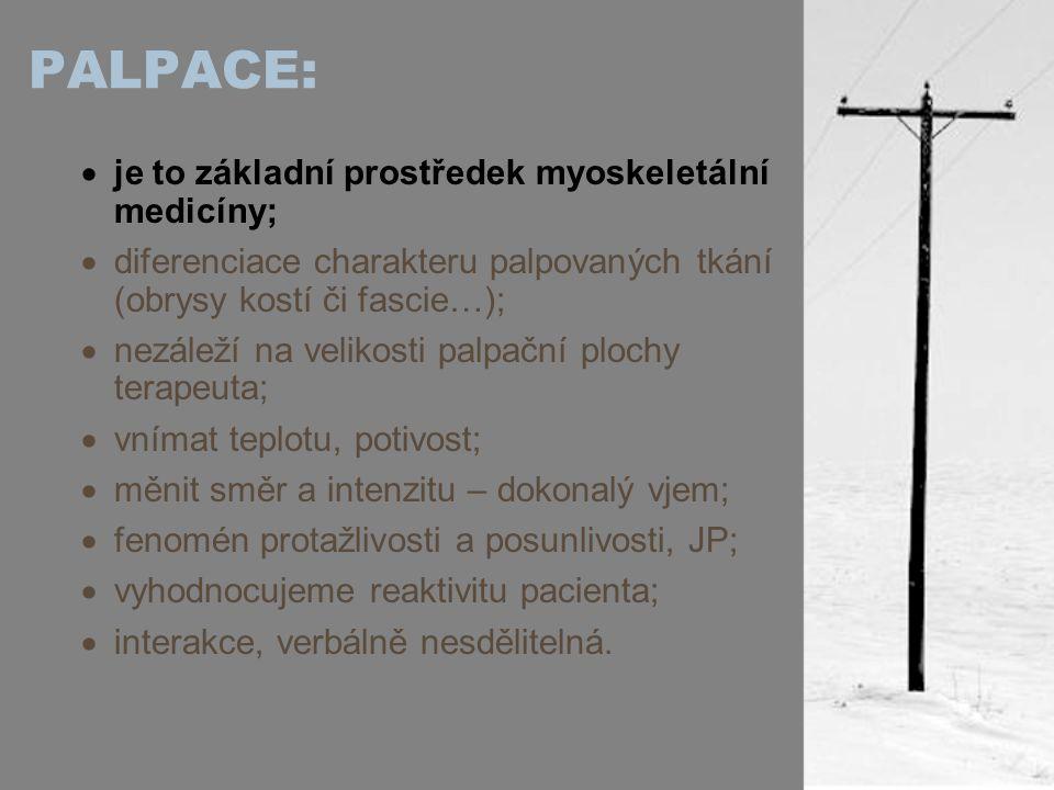 PALPACE: je to základní prostředek myoskeletální medicíny;