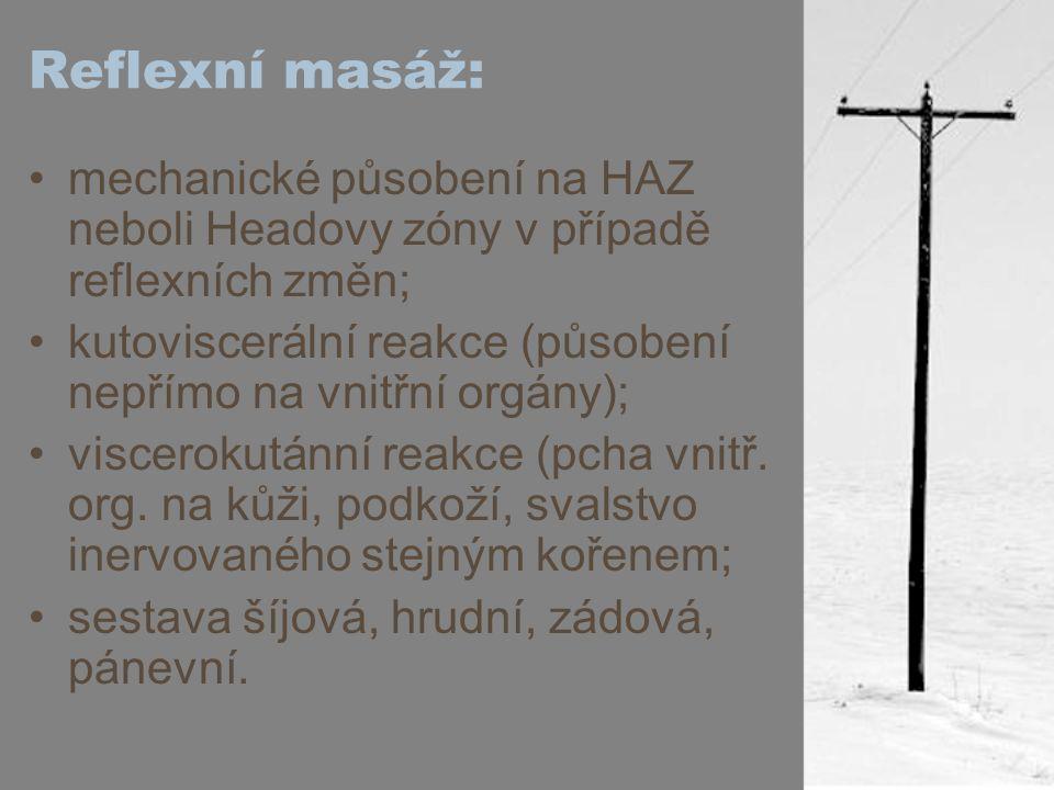 Reflexní masáž: mechanické působení na HAZ neboli Headovy zóny v případě reflexních změn;