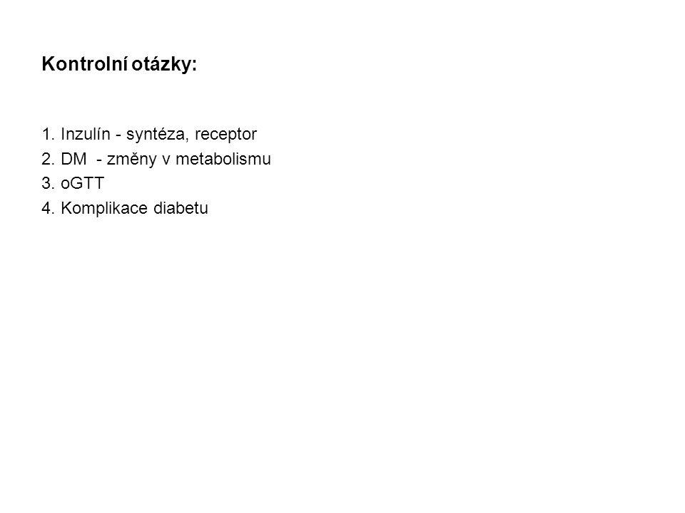 Kontrolní otázky: 1. Inzulín - syntéza, receptor