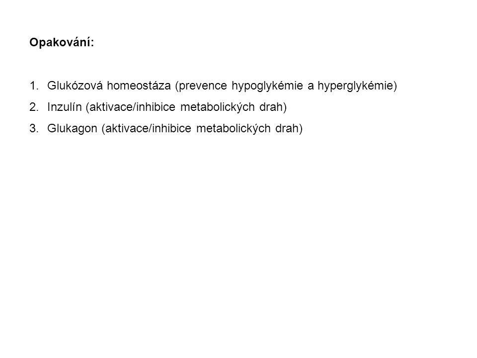 Opakování: Glukózová homeostáza (prevence hypoglykémie a hyperglykémie) Inzulín (aktivace/inhibice metabolických drah)
