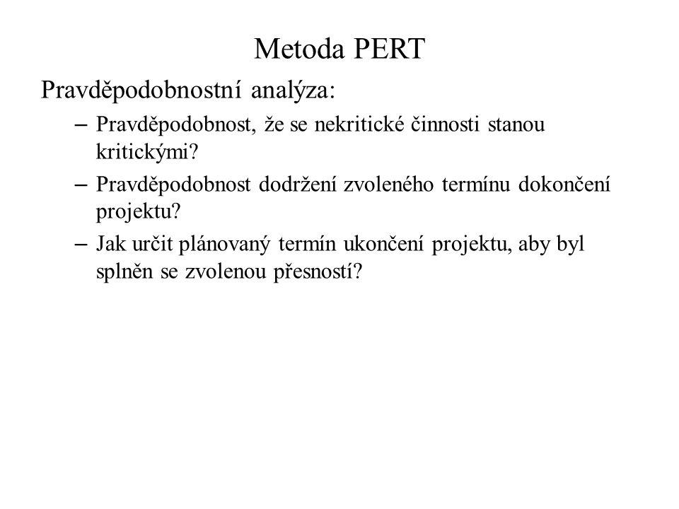 Metoda PERT Pravděpodobnostní analýza: