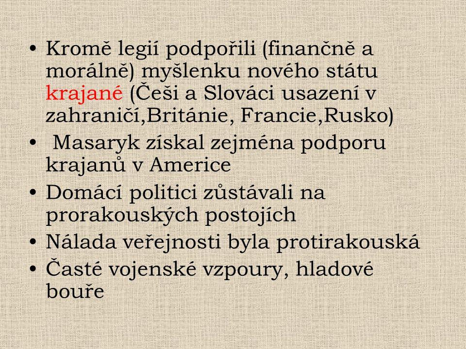 Kromě legií podpořili (finančně a morálně) myšlenku nového státu krajané (Češi a Slováci usazení v zahraničí,Británie, Francie,Rusko)