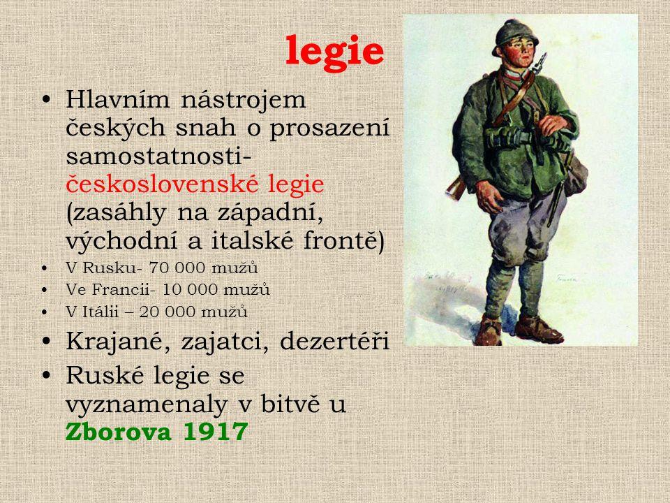 legie Hlavním nástrojem českých snah o prosazení samostatnosti- československé legie (zasáhly na západní, východní a italské frontě)
