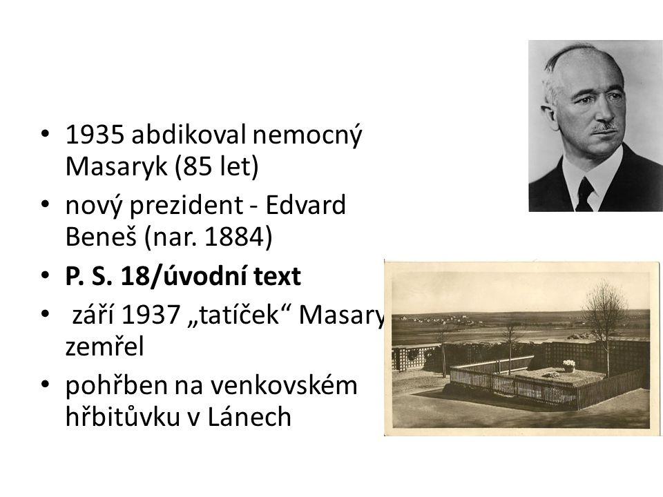 1935 abdikoval nemocný Masaryk (85 let)