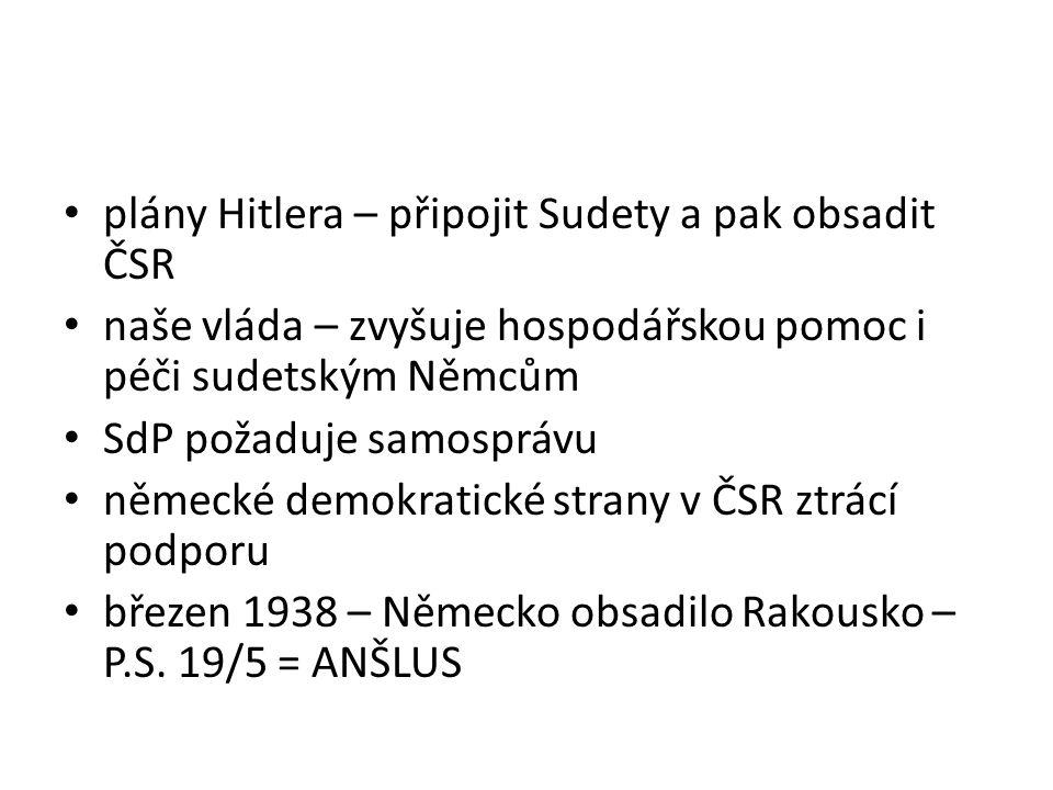plány Hitlera – připojit Sudety a pak obsadit ČSR
