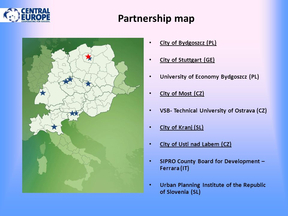 Partnership map City of Bydgoszcz (PL) City of Stuttgart (GE)